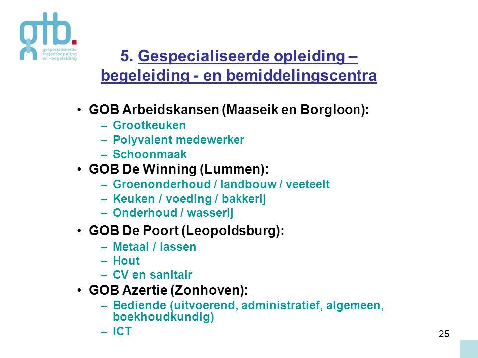 25 5. Gespecialiseerde opleiding – begeleiding - en bemiddelingscentra GOB Arbeidskansen (Maaseik en Borgloon): –Grootkeuken –Polyvalent medewerker –S