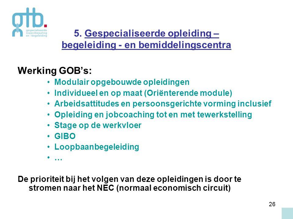 26 5. Gespecialiseerde opleiding – begeleiding - en bemiddelingscentra Werking GOB's: Modulair opgebouwde opleidingen Individueel en op maat (Oriënter