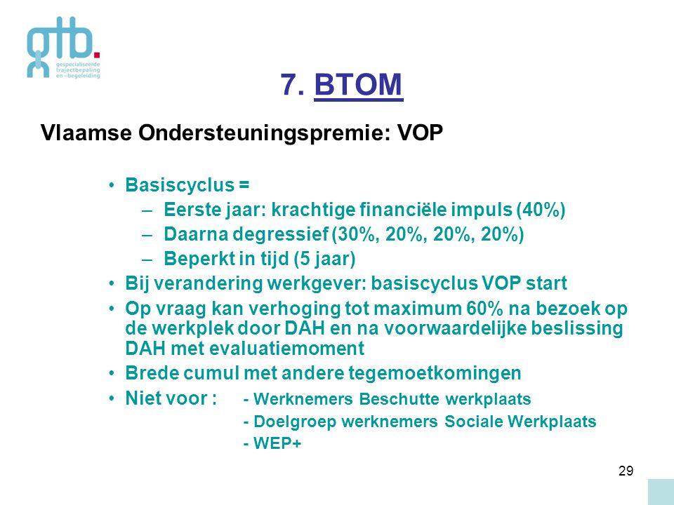 29 7. BTOM Vlaamse Ondersteuningspremie: VOP Basiscyclus = – Eerste jaar: krachtige financiële impuls (40%) – Daarna degressief (30%, 20%, 20%, 20%) –