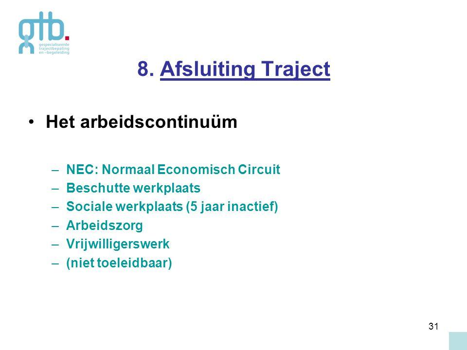 31 8. Afsluiting Traject Het arbeidscontinuüm –NEC: Normaal Economisch Circuit –Beschutte werkplaats –Sociale werkplaats (5 jaar inactief) –Arbeidszor