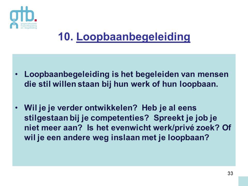 33 10. Loopbaanbegeleiding Loopbaanbegeleiding is het begeleiden van mensen die stil willen staan bij hun werk of hun loopbaan. Wil je je verder ontwi
