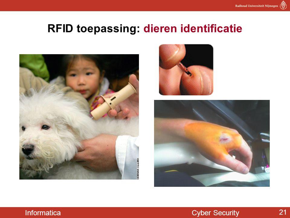 Informatica Cyber Security 21 RFID toepassing: dieren identificatie