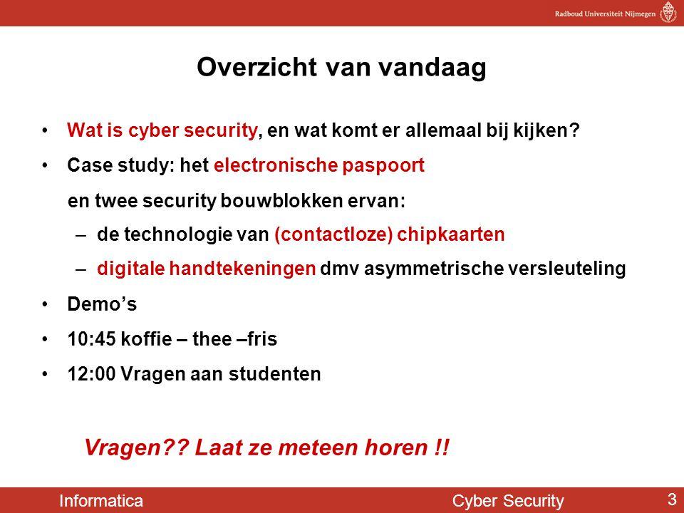Informatica Cyber Security 3 Overzicht van vandaag Wat is cyber security, en wat komt er allemaal bij kijken? Case study: het electronische paspoort e