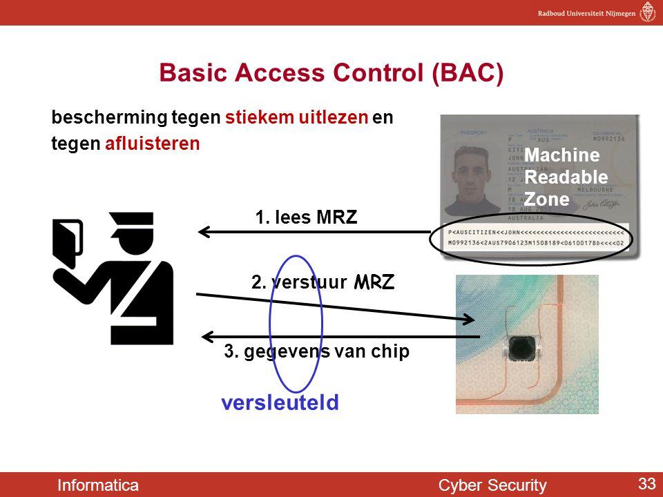 Informatica Cyber Security 33 bescherming tegen stiekem uitlezen en tegen afluisteren Basic Access Control (BAC) 3. gegevens van chip 1. lees MRZ 2. v