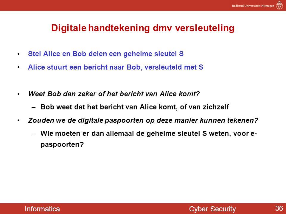 Informatica Cyber Security 36 Digitale handtekening dmv versleuteling Stel Alice en Bob delen een geheime sleutel S Alice stuurt een bericht naar Bob,