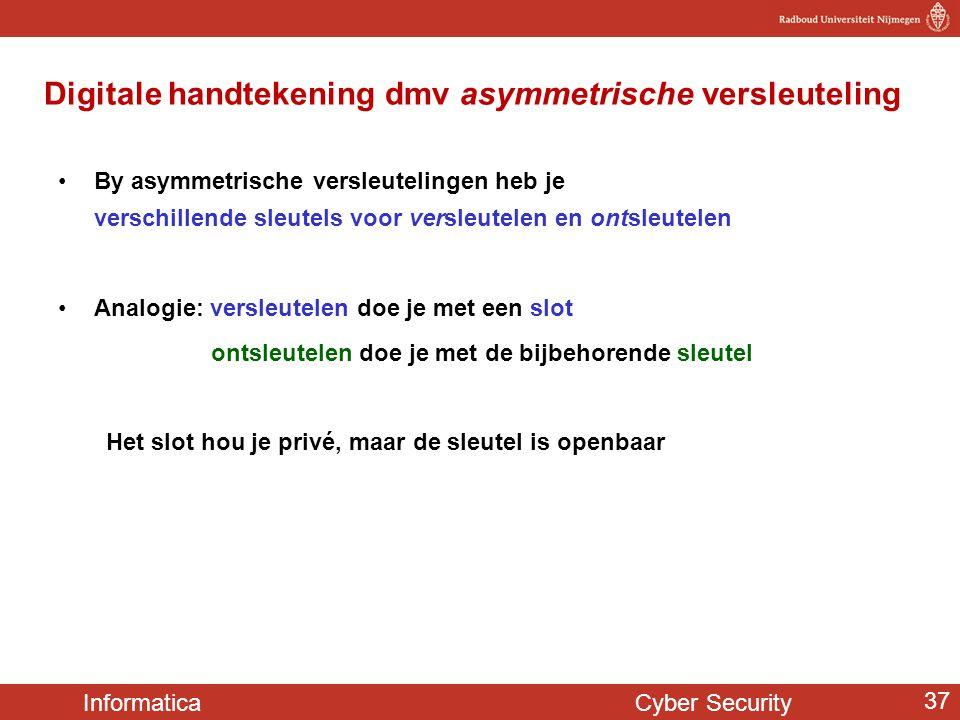 Informatica Cyber Security 37 Digitale handtekening dmv asymmetrische versleuteling By asymmetrische versleutelingen heb je verschillende sleutels voo