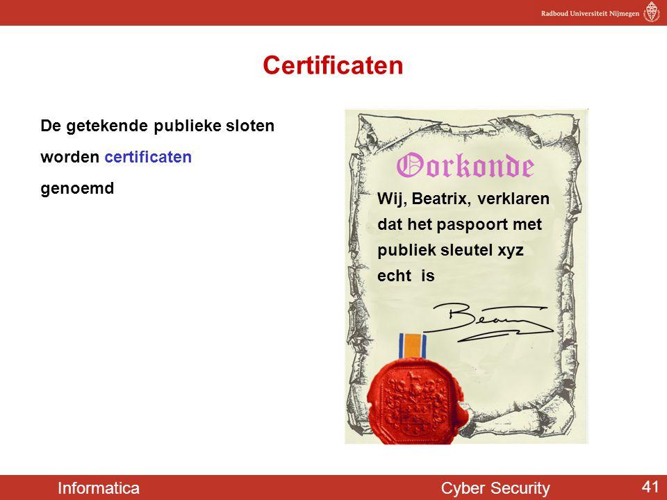 Informatica Cyber Security 41 De getekende publieke sloten worden certificaten genoemd Certificaten Wij, Beatrix, verklaren dat het paspoort met publi