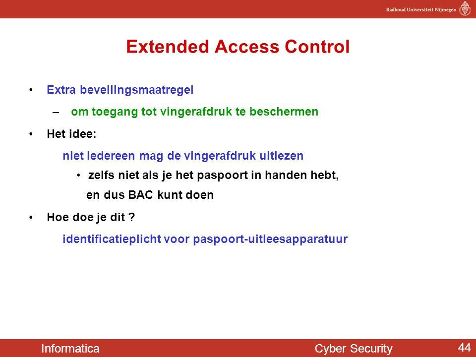 Informatica Cyber Security 44 Extended Access Control Extra beveilingsmaatregel – om toegang tot vingerafdruk te beschermen Het idee: niet iedereen ma