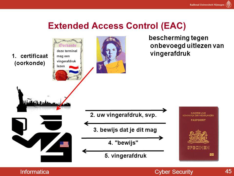 Informatica Cyber Security 45 bescherming tegen onbevoegd uitlezen van vingerafdruk Extended Access Control (EAC) 5. vingerafdruk 1.certificaat (oorko
