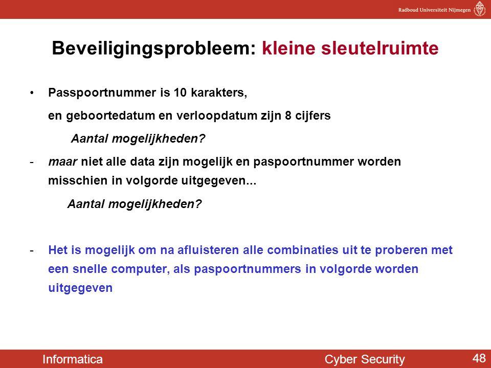 Informatica Cyber Security 48 Beveiligingsprobleem: kleine sleutelruimte Passpoortnummer is 10 karakters, en geboortedatum en verloopdatum zijn 8 cijf