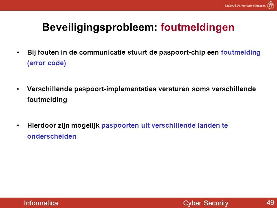 Informatica Cyber Security 49 Beveiligingsprobleem: foutmeldingen Bij fouten in de communicatie stuurt de paspoort-chip een foutmelding (error code) V