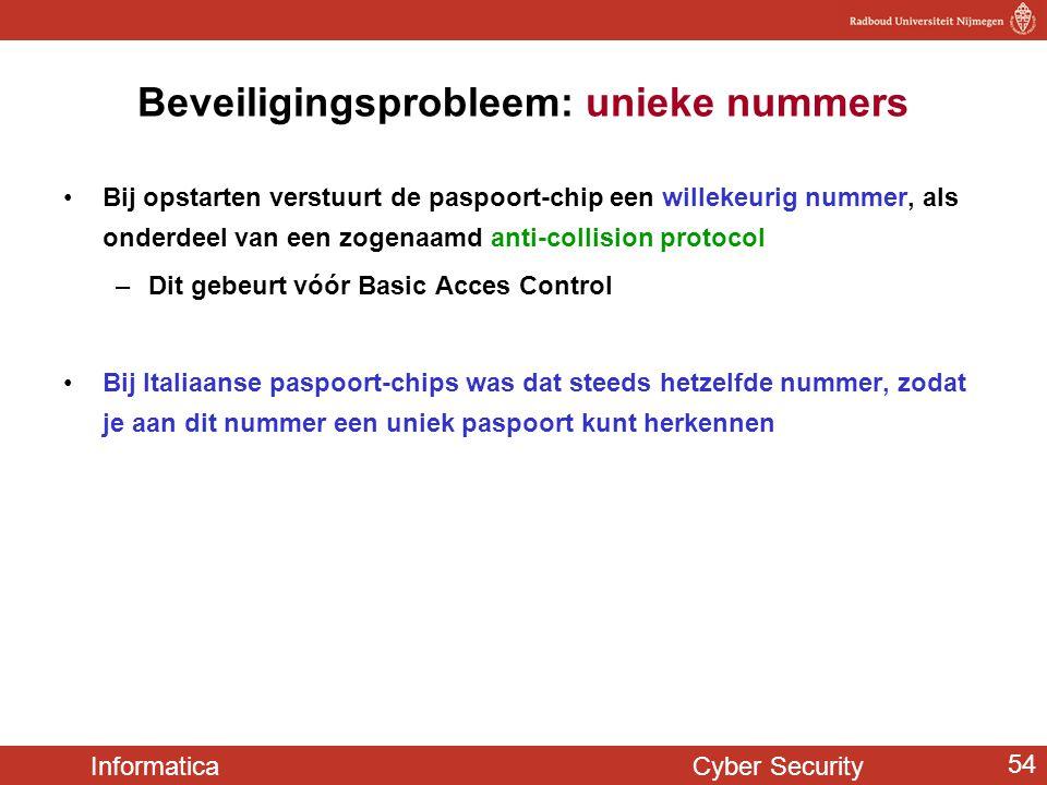 Informatica Cyber Security 54 Beveiligingsprobleem: unieke nummers Bij opstarten verstuurt de paspoort-chip een willekeurig nummer, als onderdeel van