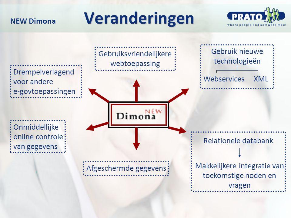 Veranderingen NEW Dimona Veranderingen Gebruiksvriendelijkere webtoepassing Gebruik nieuwe technologieën Relationele databank Makkelijkere integratie