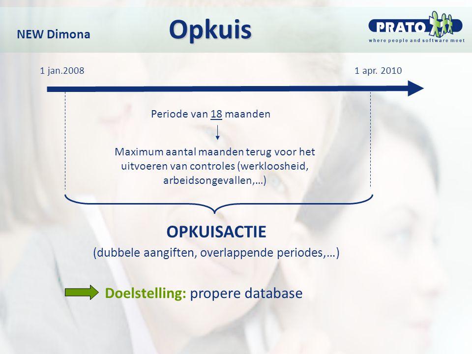 Opkuis NEW Dimona Opkuis Doelstelling: propere database 1 apr. 2010 Periode van 18 maanden OPKUISACTIE (dubbele aangiften, overlappende periodes,…) Ma
