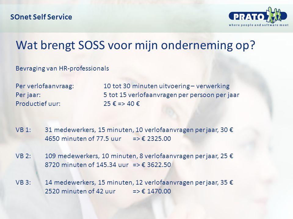 Wat brengt SOSS voor mijn onderneming op? Bevraging van HR-professionals Per verlofaanvraag: 10 tot 30 minuten uitvoering – verwerking Per jaar: 5 tot