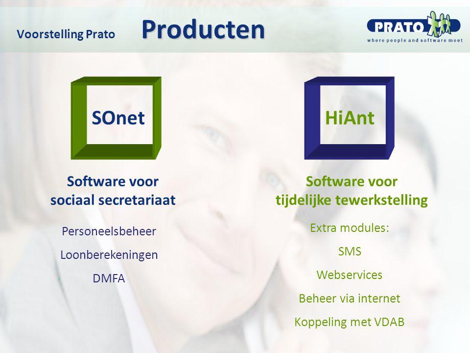 Producten Voorstelling Prato Producten Personeelsbeheer Loonberekeningen DMFA SOnetHiAnt Software voor sociaal secretariaat Software voor tijdelijke t