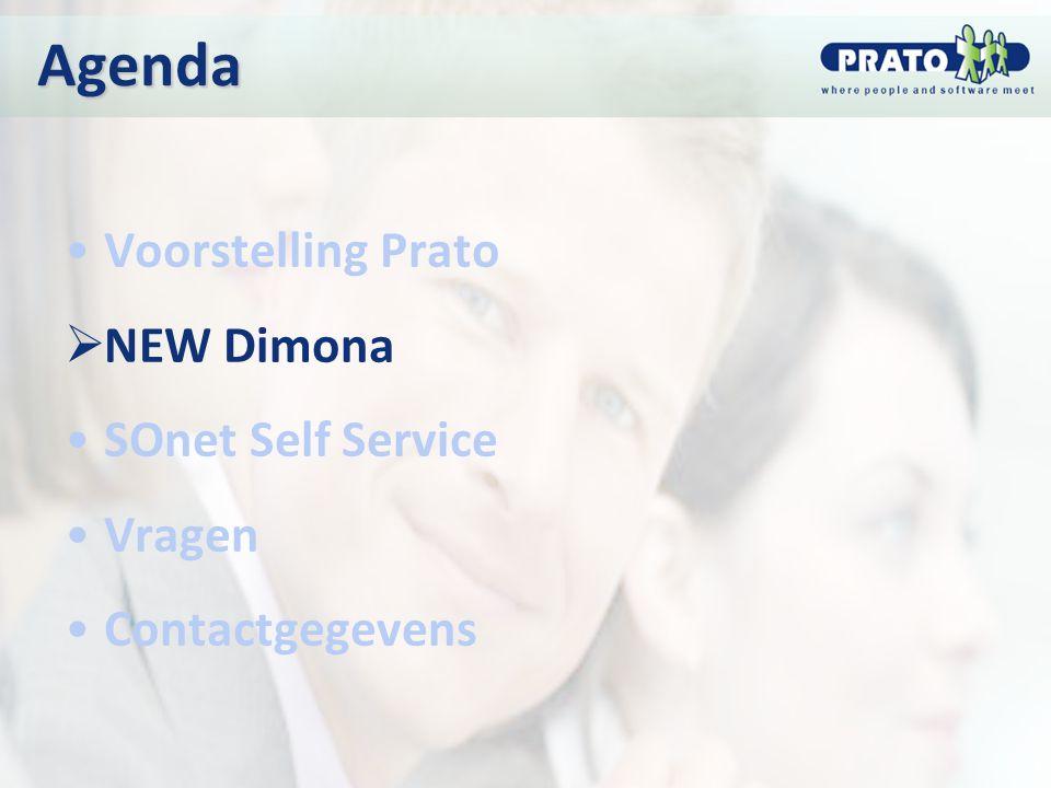 Agenda Voorstelling Prato  NEW Dimona SOnet Self Service Vragen Contactgegevens