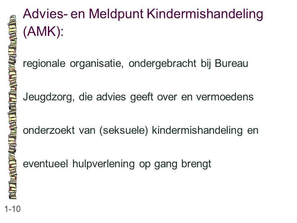 Advies- en Meldpunt Kindermishandeling (AMK): 1-10 regionale organisatie, ondergebracht bij Bureau Jeugdzorg, die advies geeft over en vermoedens onderzoekt van (seksuele) kindermishandeling en eventueel hulpverlening op gang brengt