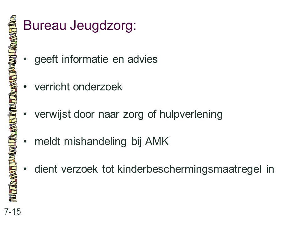 Bureau Jeugdzorg: 7-15 geeft informatie en advies verricht onderzoek verwijst door naar zorg of hulpverlening meldt mishandeling bij AMK dient verzoek tot kinderbeschermingsmaatregel in
