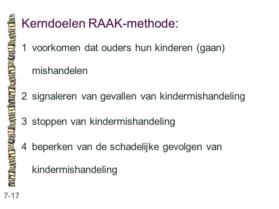 Kerndoelen RAAK-methode: 7-17 1voorkomen dat ouders hun kinderen (gaan) mishandelen 2signaleren van gevallen van kindermishandeling 3stoppen van kindermishandeling 4beperken van de schadelijke gevolgen van kindermishandeling