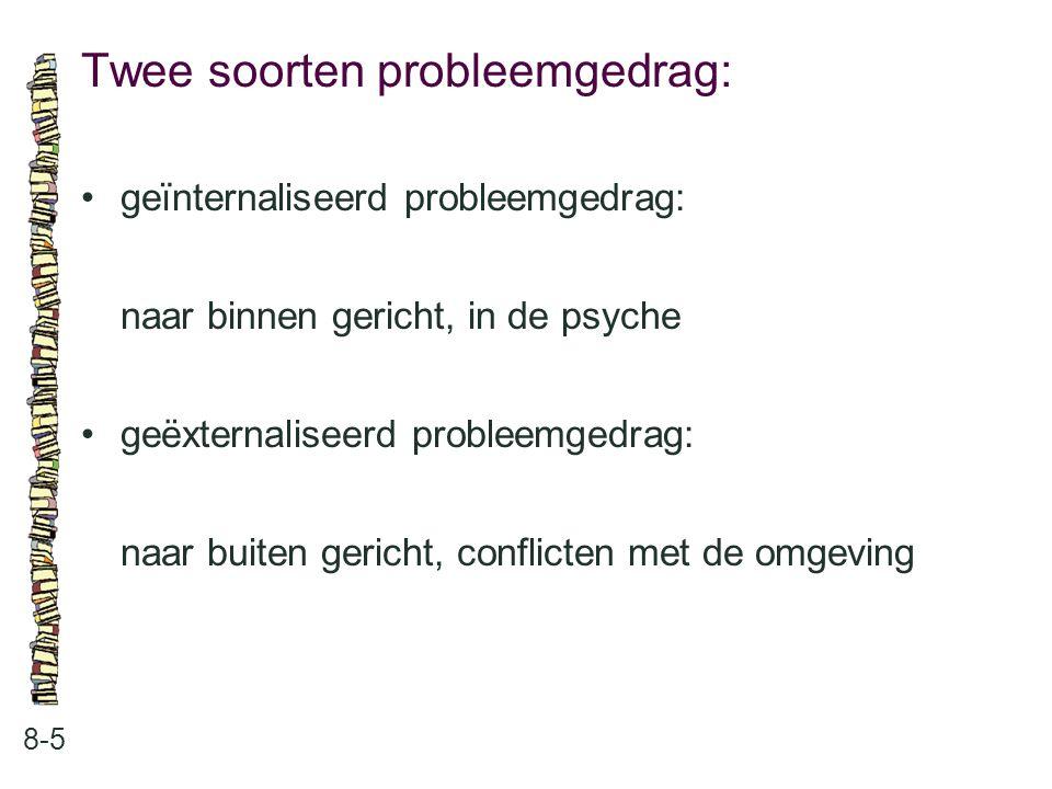 Twee soorten probleemgedrag: 8-5 geïnternaliseerd probleemgedrag: naar binnen gericht, in de psyche geëxternaliseerd probleemgedrag: naar buiten gericht, conflicten met de omgeving