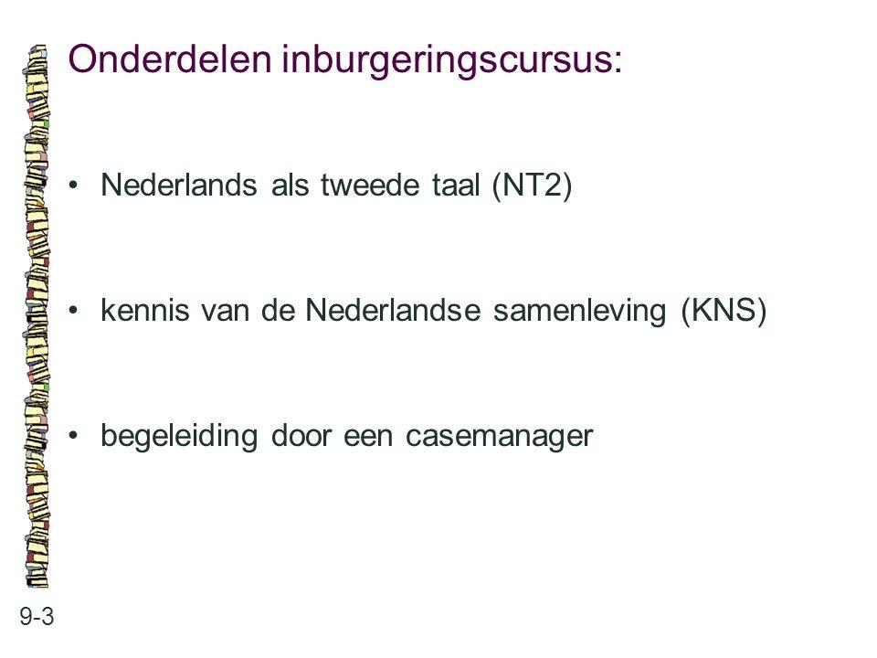Onderdelen inburgeringscursus: 9-3 Nederlands als tweede taal (NT2) kennis van de Nederlandse samenleving (KNS) begeleiding door een casemanager