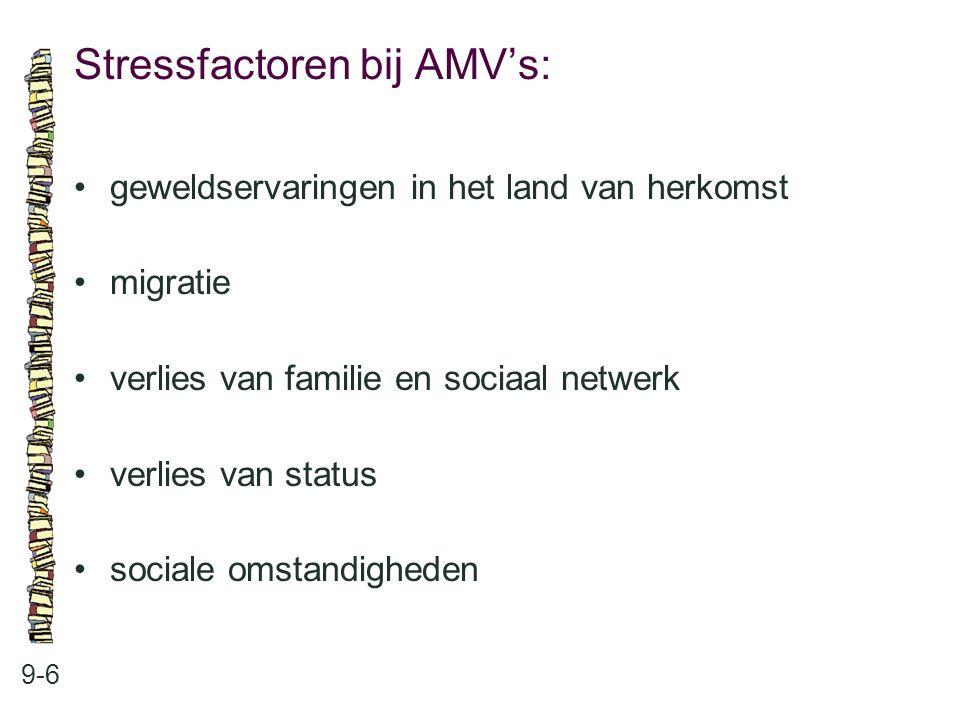 Stressfactoren bij AMV's: 9-6 geweldservaringen in het land van herkomst migratie verlies van familie en sociaal netwerk verlies van status sociale omstandigheden