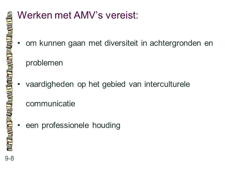 Werken met AMV's vereist: 9-8 om kunnen gaan met diversiteit in achtergronden en problemen vaardigheden op het gebied van interculturele communicatie een professionele houding