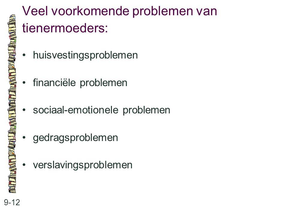 Veel voorkomende problemen van tienermoeders: 9-12 huisvestingsproblemen financiële problemen sociaal-emotionele problemen gedragsproblemen verslavingsproblemen