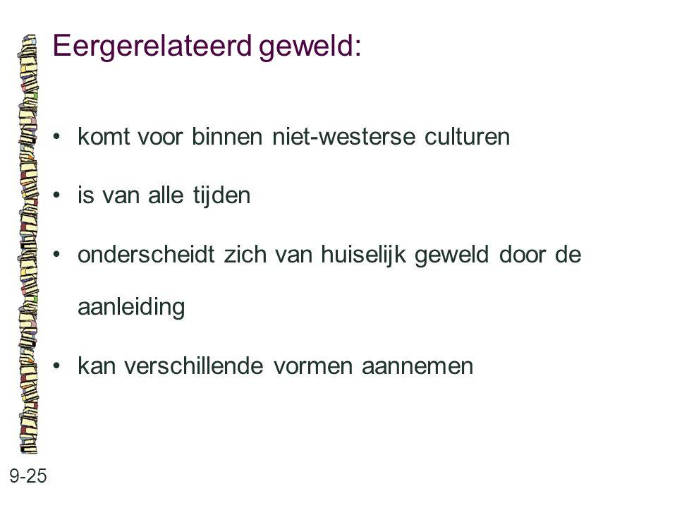 Eergerelateerd geweld: 9-25 komt voor binnen niet-westerse culturen is van alle tijden onderscheidt zich van huiselijk geweld door de aanleiding kan verschillende vormen aannemen