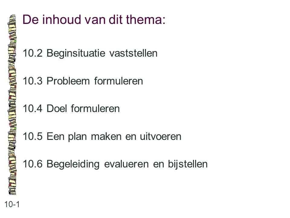 De inhoud van dit thema: 10-1 10.2Beginsituatie vaststellen 10.3 Probleem formuleren 10.4 Doel formuleren 10.5 Een plan maken en uitvoeren 10.6 Begeleiding evalueren en bijstellen