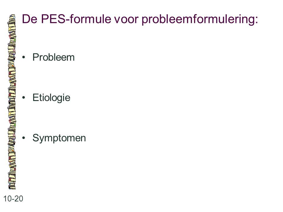 De PES-formule voor probleemformulering: 10-20 Probleem Etiologie Symptomen