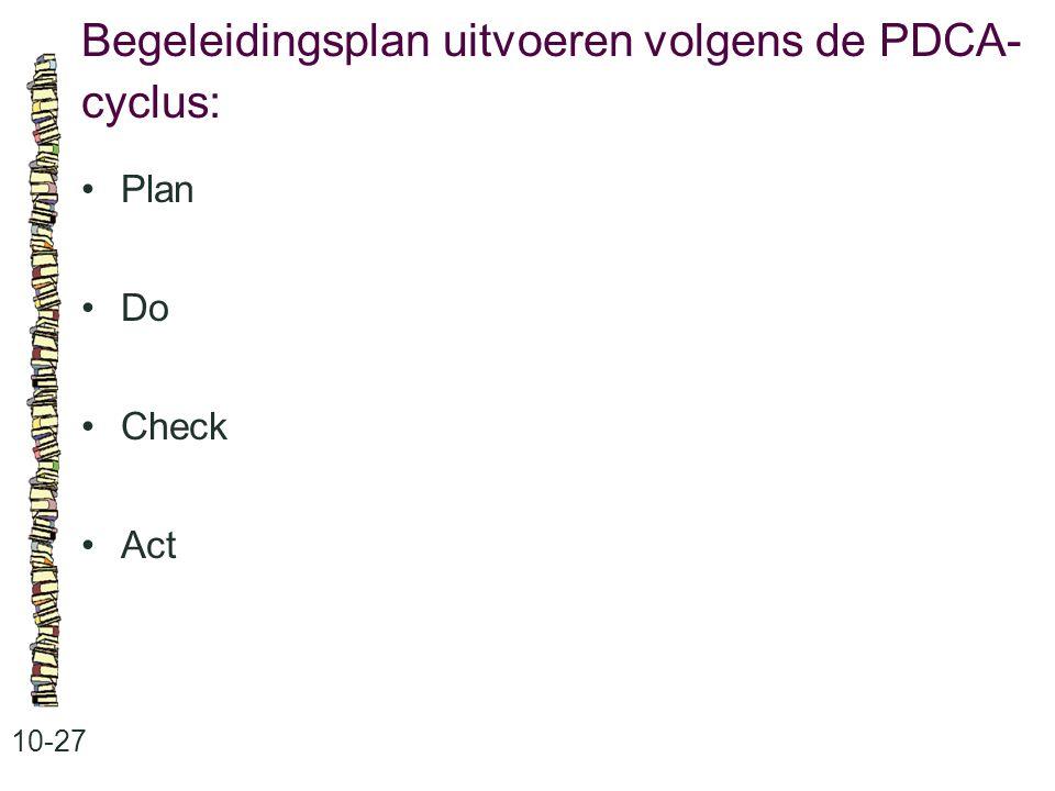 Begeleidingsplan uitvoeren volgens de PDCA- cyclus: 10-27 Plan Do Check Act