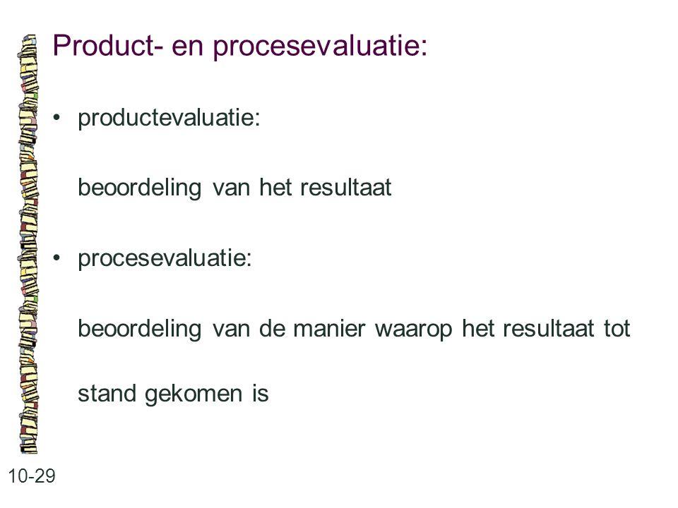 Product- en procesevaluatie: 10-29 productevaluatie: beoordeling van het resultaat procesevaluatie: beoordeling van de manier waarop het resultaat tot stand gekomen is