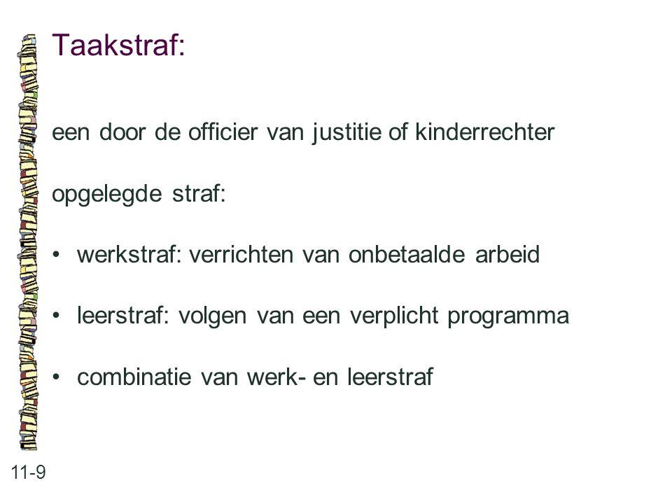 Taakstraf: 11-9 een door de officier van justitie of kinderrechter opgelegde straf: werkstraf: verrichten van onbetaalde arbeid leerstraf: volgen van een verplicht programma combinatie van werk- en leerstraf