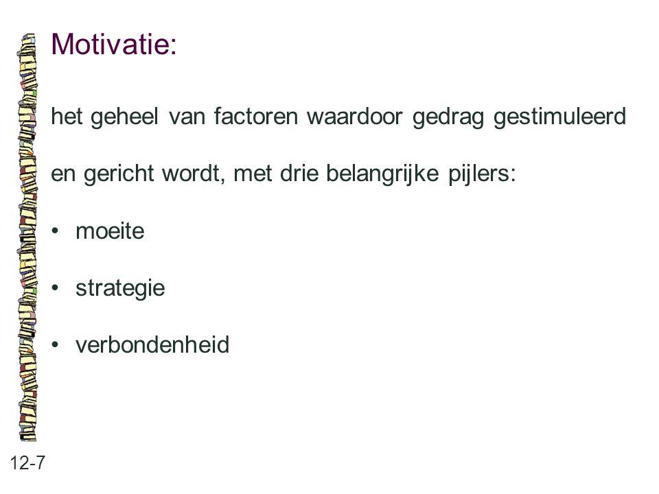Motivatie: 12-7 het geheel van factoren waardoor gedrag gestimuleerd en gericht wordt, met drie belangrijke pijlers: moeite strategie verbondenheid