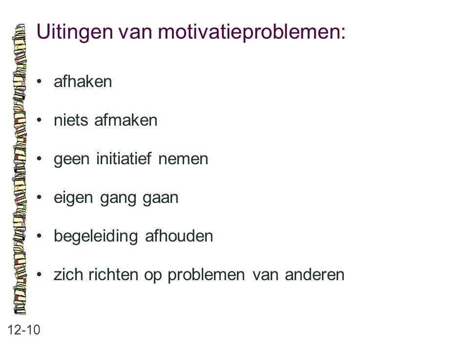 Uitingen van motivatieproblemen: 12-10 afhaken niets afmaken geen initiatief nemen eigen gang gaan begeleiding afhouden zich richten op problemen van anderen
