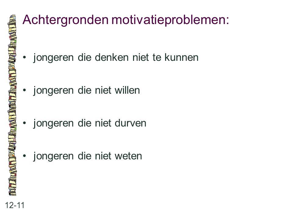 Achtergronden motivatieproblemen: 12-11 jongeren die denken niet te kunnen jongeren die niet willen jongeren die niet durven jongeren die niet weten