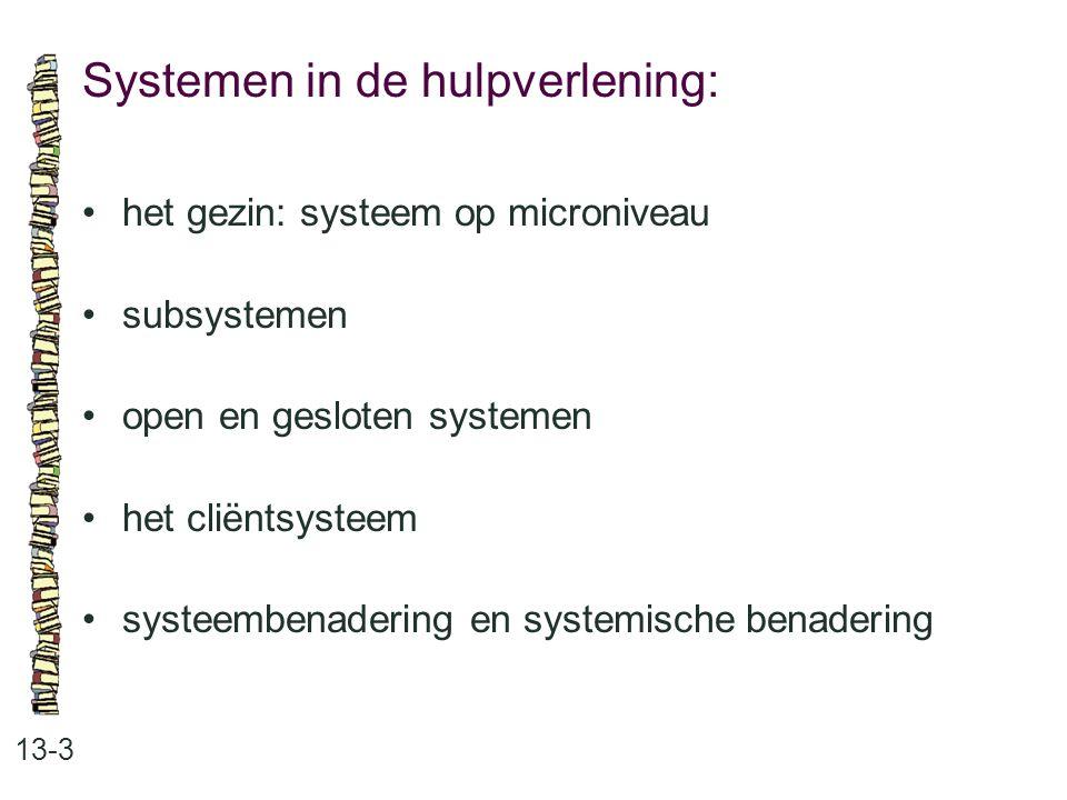 Systemen in de hulpverlening: 13-3 het gezin: systeem op microniveau subsystemen open en gesloten systemen het cliëntsysteem systeembenadering en systemische benadering