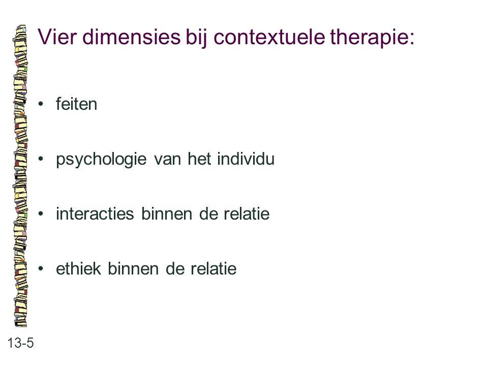 Vier dimensies bij contextuele therapie: 13-5 feiten psychologie van het individu interacties binnen de relatie ethiek binnen de relatie