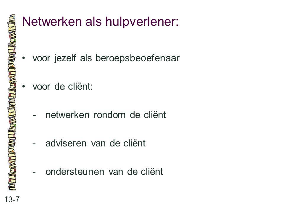 Netwerken als hulpverlener: 13-7 voor jezelf als beroepsbeoefenaar voor de cliënt: -netwerken rondom de cliënt -adviseren van de cliënt -ondersteunen van de cliënt