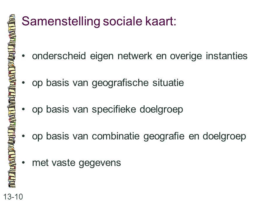 Samenstelling sociale kaart: 13-10 onderscheid eigen netwerk en overige instanties op basis van geografische situatie op basis van specifieke doelgroep op basis van combinatie geografie en doelgroep met vaste gegevens