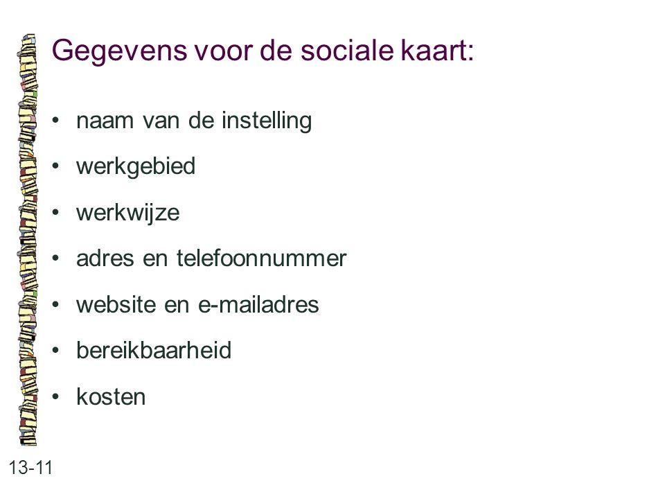 Gegevens voor de sociale kaart: 13-11 naam van de instelling werkgebied werkwijze adres en telefoonnummer website en e-mailadres bereikbaarheid kosten