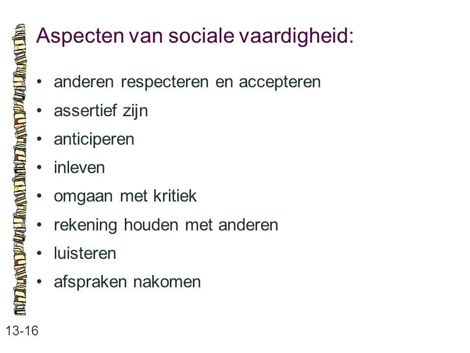 Aspecten van sociale vaardigheid: 13-16 anderen respecteren en accepteren assertief zijn anticiperen inleven omgaan met kritiek rekening houden met anderen luisteren afspraken nakomen