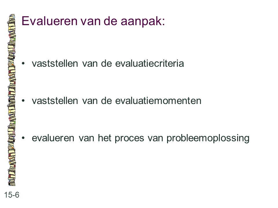 Evalueren van de aanpak: 15-6 vaststellen van de evaluatiecriteria vaststellen van de evaluatiemomenten evalueren van het proces van probleemoplossing