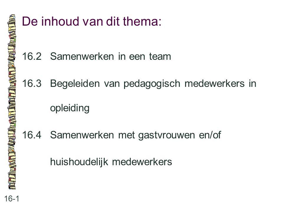 De inhoud van dit thema: 16-1 16.2Samenwerken in een team 16.3 Begeleiden van pedagogisch medewerkers in opleiding 16.4 Samenwerken met gastvrouwen en/of huishoudelijk medewerkers