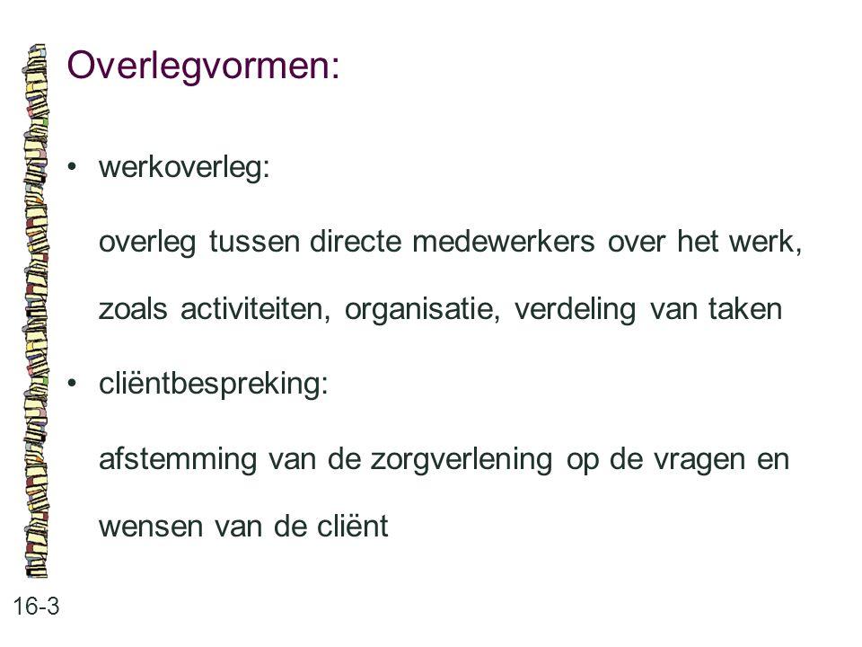 Overlegvormen: 16-3 werkoverleg: overleg tussen directe medewerkers over het werk, zoals activiteiten, organisatie, verdeling van taken cliëntbespreking: afstemming van de zorgverlening op de vragen en wensen van de cliënt