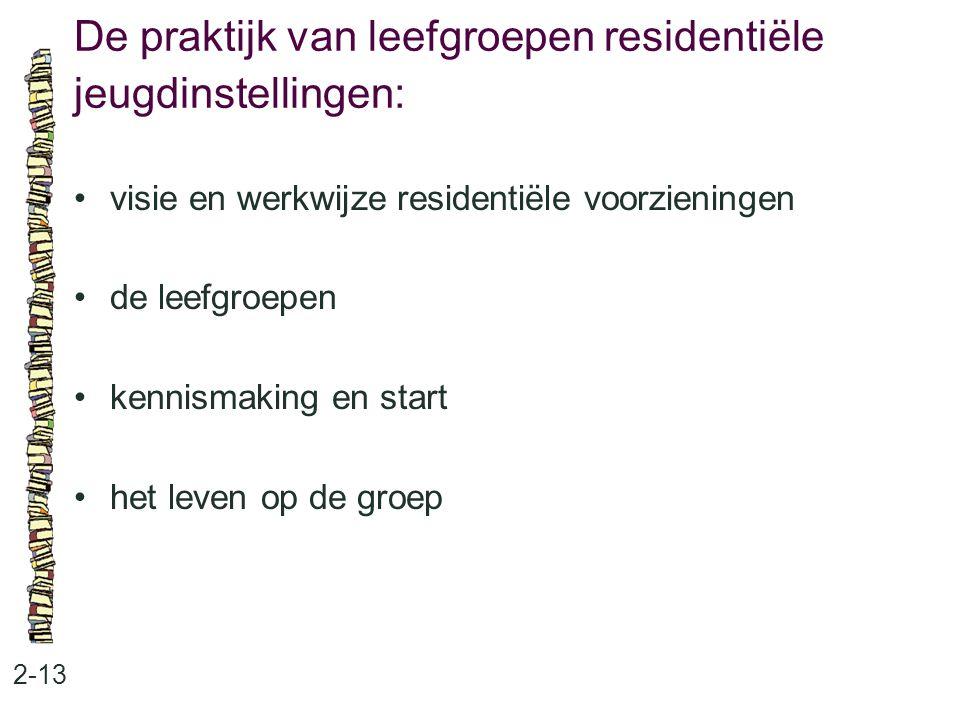 De praktijk van leefgroepen residentiële jeugdinstellingen: 2-13 visie en werkwijze residentiële voorzieningen de leefgroepen kennismaking en start het leven op de groep