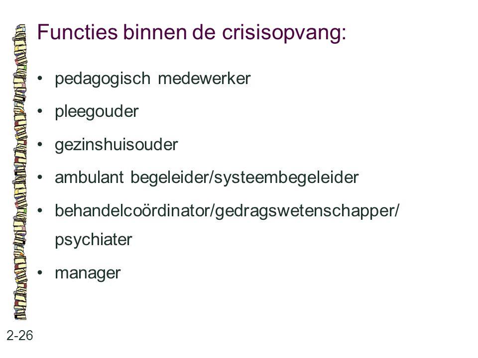 Functies binnen de crisisopvang: 2-26 pedagogisch medewerker pleegouder gezinshuisouder ambulant begeleider/systeembegeleider behandelcoördinator/gedragswetenschapper/ psychiater manager