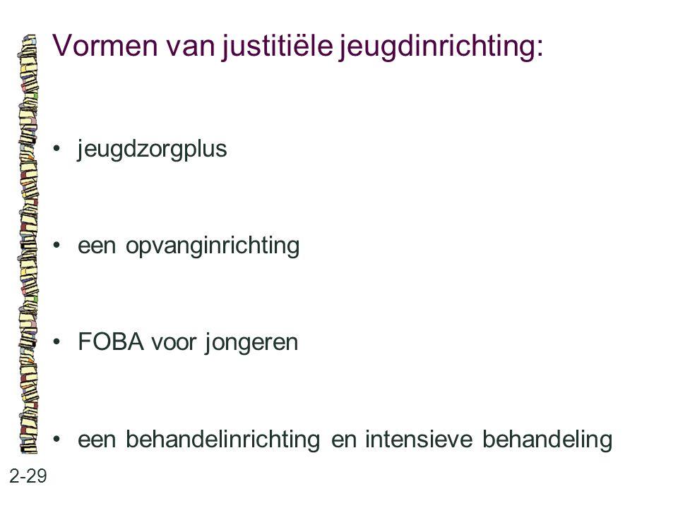 Vormen van justitiële jeugdinrichting: 2-29 jeugdzorgplus een opvanginrichting FOBA voor jongeren een behandelinrichting en intensieve behandeling